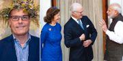 Från vänster Ola Serneke, drottning Silvia, Carl XVI Gustaf och Narendra Modi   Jessica Gow/TT, Manish Swarup AP/TT