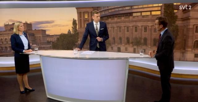 Andersson (S) mötte Kristersson (M) i kvällens SVT Aktuellt.  SVT