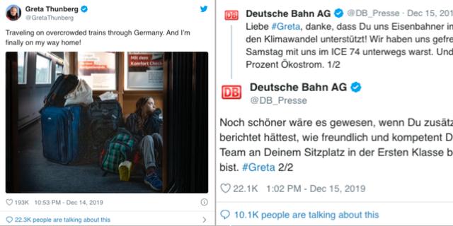 Bilder från Thunbergs och Deutsche Bahns twitterbråk. Twitter
