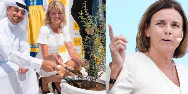 Najeeb Mohammed Al-Ali chef för Expo 2020, Anna Hallberg (S) och Isabella Lövin (MP) TT