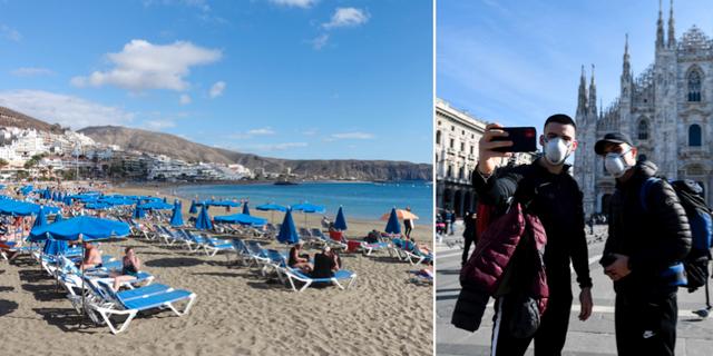 Arkivbilder från Teneriffa och turister med munskydd i Italien.  TT