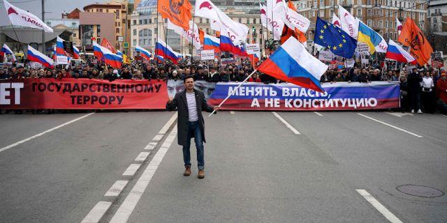 Oppositionspolitikern Ilya Yashin var en av dem som ledde protesterna. DIMITAR DILKOFF / TT NYHETSBYRÅN