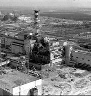 Reaktor fyra precis efter explosionen 1986. Volodymyr Repik / TT NYHETSBYRÅN