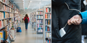 Ett bibliotek/En person stjäl en mobiltelefon.  TT