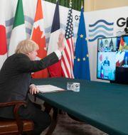 Boris Johnson under mötet. Geoff Pugh / TT NYHETSBYRÅN