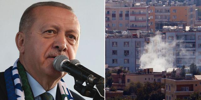 President Erdogan och en bild tagen in över Syrien.  TT.