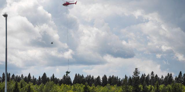 En helikopter bärgar vrakdelar från flygplanet. Patrick Trägårdh/TT / TT NYHETSBYRÅN
