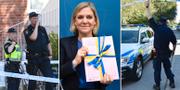 Finansminister Magdalena Andersson (S) med fjolårets höst budget/Polisen på mordplatserna i Malmö och Vällingby. TT