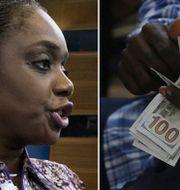 Finansminister Kemi Adeosun. Nigeriansk man som räknar pengar. Arkivbilder. TT