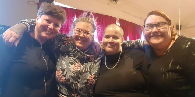 Caroline Bjartling, Hannah Kindbom, Liv O Lundström och Josefin Joxelius, medlemmar i Malmö Fat front. Privat.
