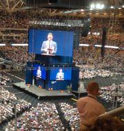 Filmvisning är en stor del av Jehovas vittnens predikningar, här i Friends arena i juli 2015. Allan Munch / TT / Allan Munch