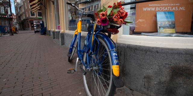 En cykel med tulpaner i ett folktomt Amsterdam. Peter Dejong / TT NYHETSBYRÅN