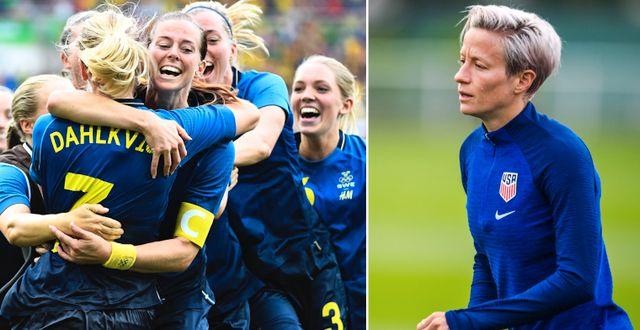 Sverige jublar efter segern 2016/Megan Rapinoe. Bildbyrån