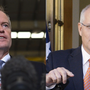 Labors Bill Shorten och premiärminister Scott Morrison.  TT