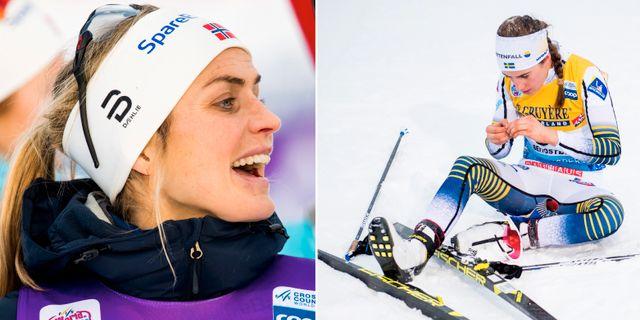 Therese Johaug och Ebba Andersson.  Bildbyrån.