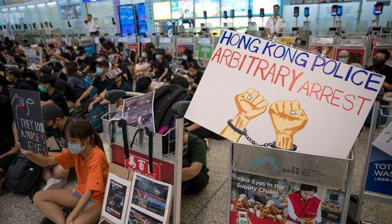Demonstrationen på flygplatsen.