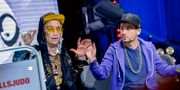 Hiphopduon Far & Son, bestående av Frej Larsson och Simon Gärdenfors. Jonas Ekströmer/TT / TT NYHETSBYRÅN