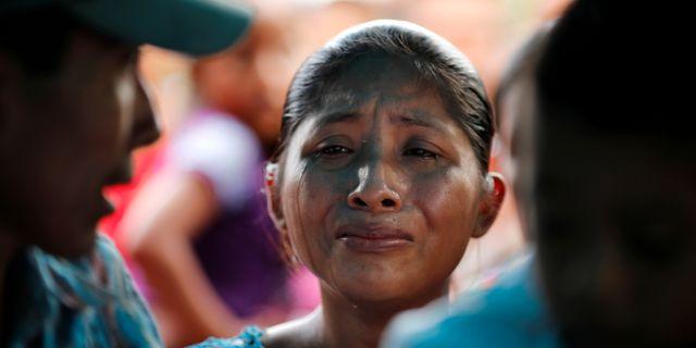 Claudia Maquin, mamma till den sjuåriga flicka som dog i förvar i början av december. CARLOS BARRIA / TT NYHETSBYRÅN