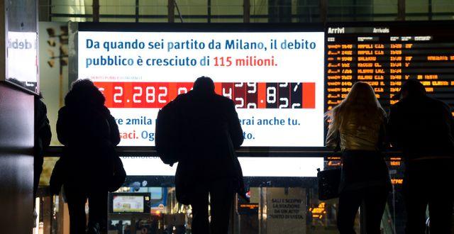 "Italiens ""skuldklocka"" i Rom.  FILIPPO MONTEFORTE / AFP"