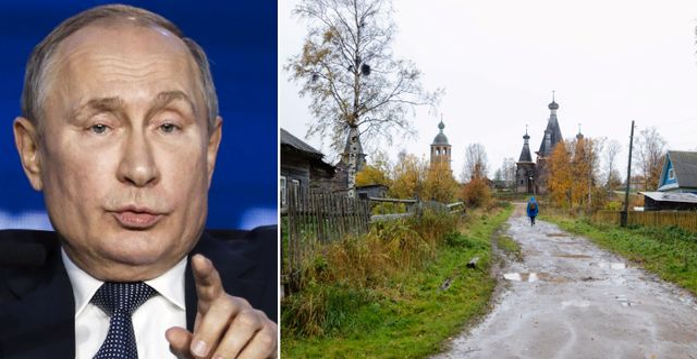 Putin/byn Nyonoksa i närheten av testanläggningen. TT