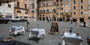 Tomma bord på torget framför Pantheon i Rom. Alessandra Tarantino / TT NYHETSBYRÅN