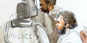 Teckning av Salah Abdeslam i rättssalen STRINGER / TT NYHETSBYRÅN