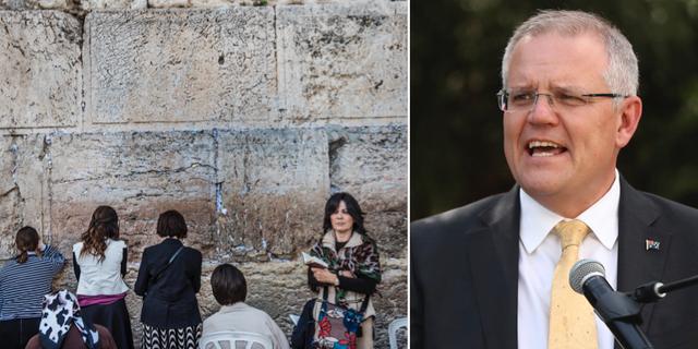 Tempelberget i Jerusalem och Australiens premiärminister Scott Morrison.  TT
