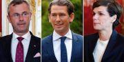 Den nye FPÖ-ledaren Norbert Hofer/förbundskansler Sebastian Kurz och Socialdemokraternas ledare Pamela Rendi-Wagner. TT