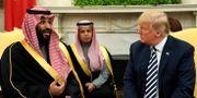 Saudiarabiens kronprins Mohammed bin Salman och Donald Trump under ett besök i Vita huset den 20 mars.  JONATHAN ERNST / TT NYHETSBYRÅN