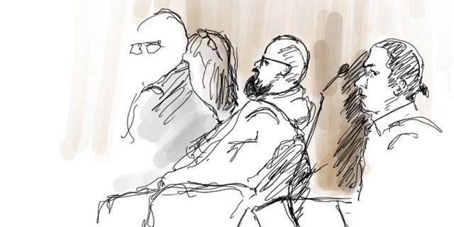 Teckning från rättegången föreställande bland andra Peter Gembäck. Ingela Landström/TT / TT NYHETSBYRÅN