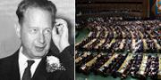 Dag Hammarskjöld och FN:s generalförsamling.  TT/AP