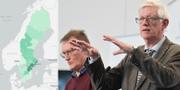 Karta över virusspridningen i Sverige/Folkhälsomyndighetens generaldirektör Johan Carlson i förgrunden och statsepidemiolog Anders Tegnell i bakgrunden. Folkhälsomyndigheten/TT