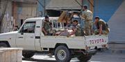 Turkiskstödda syriska soldater i syriska gränsstaden Tal Abyad.  BAKR ALKASEM / AFP