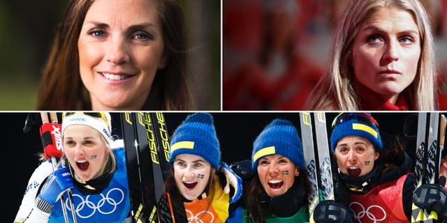 Johanna Ojala, Therese Johaug och svenska skidlandslaget. TT
