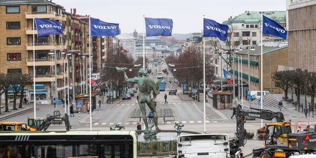 Volvoflaggor i Göteborg. Adam Ihse/TT / TT NYHETSBYRÅN