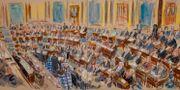 Illustration där Vita husets advokat Pat Cipollone talar till senatorerna.  Dana Verkouteren / TT NYHETSBYRÅN