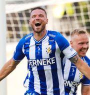 Marcus Berg firar sitt mål. Adam Ihse/TT / TT NYHETSBYRÅN