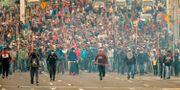 Demonstranter i Quito idag. RODRIGO BUENDIA / AFP