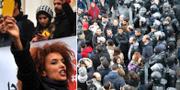 Demonstranter i Tunisien. TT