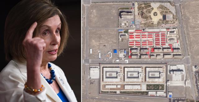 Representanthusets talman Nancy Pelosi, Demokraterna. Satellitbild från läger i Kina.