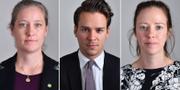 MP-ledamöterna Amanda Palmstierna, Lorentz Towatt och Åsa Lindhagen. TT
