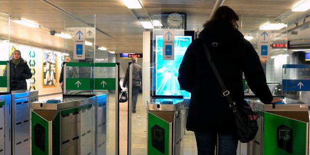 Tunnelbanespärr vid Fridhemsplans tunnelbanestation Hasse Holmberg / TT / TT NYHETSBYRÅN