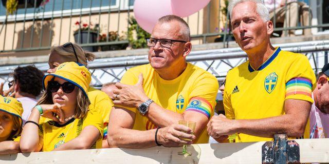 Janne Andersson och Svenska fotbollförbundets Håkan Sjöstrand. JESPER ZERMAN / BILDBYRÅN
