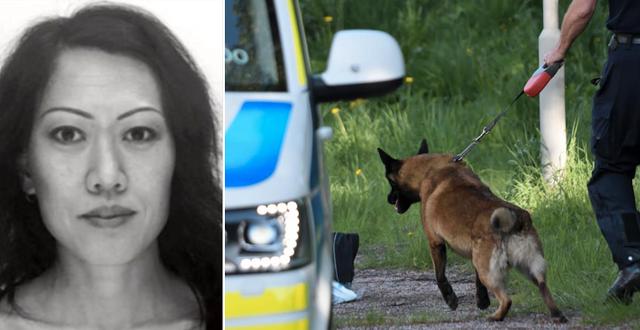 Lena Wesström/poliser vid brottsplatsen (Arkivbilder) TT