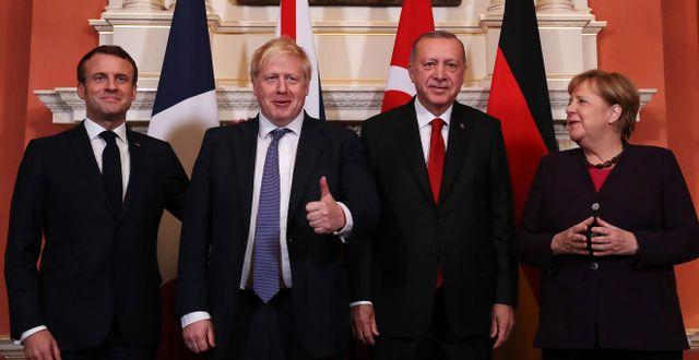 Emmanuel Macron, Boris Johnson, Recep Tayyip Erdogan och Angela Merkel på Natomötet idag. MURAT CETINMUHURDAR / TURKISH PRESIDENTIAL PRESS SERVI