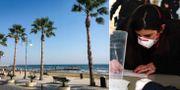 Arkivbild stranden i Larnaca//Resande fyller i dokument på en flygplats i Italien. TT