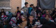 Kvinnor och barn som väntar på att utredas för IS-inblandning. Bilden är tagen i Dibis i Irak 2017.  Bram Janssen / TT NYHETSBYRÅN