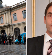 Börshuset i Stockholm och Svenska Akademiens ständige sekreteraren Mats Malm. Arkivbilder. TT