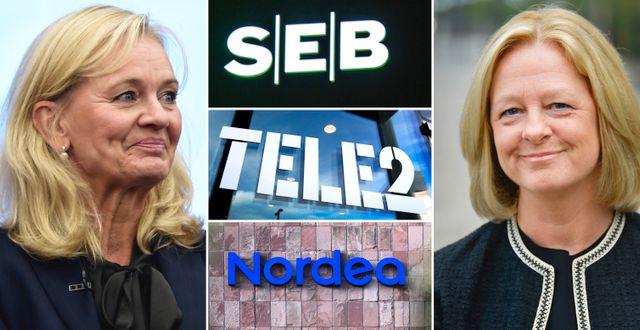 Till vänster: Handelsbankens vd Carina Åkerström. Till höger: Telias vd Allison Kirkby.