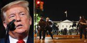 Donald Trump/poliser utanför Vita huset.  TT